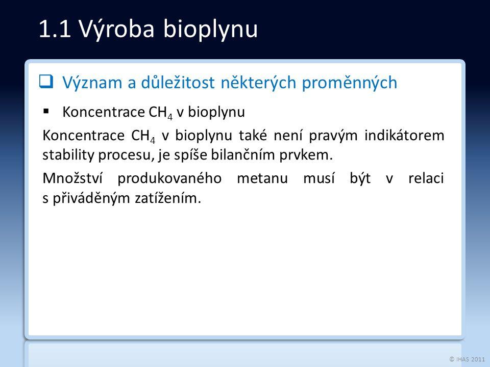 © IHAS 2011  Význam a důležitost některých proměnných  Koncentrace CH 4 v bioplynu Koncentrace CH 4 v bioplynu také není pravým indikátorem stability procesu, je spíše bilančním prvkem.