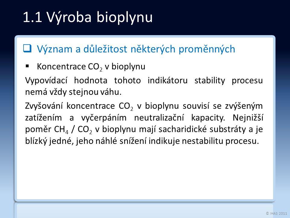 © IHAS 2011  Význam a důležitost některých proměnných  Koncentrace CO 2 v bioplynu Vypovídací hodnota tohoto indikátoru stability procesu nemá vždy stejnou váhu.