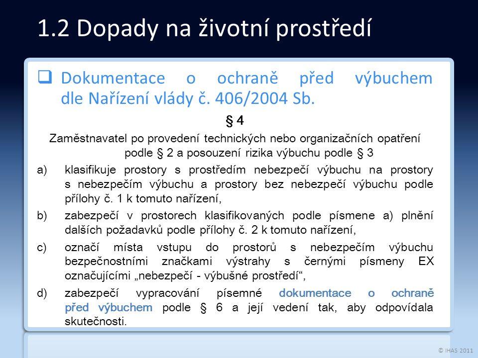 © IHAS 2011  Dokumentace o ochraně před výbuchem dle Nařízení vlády č.