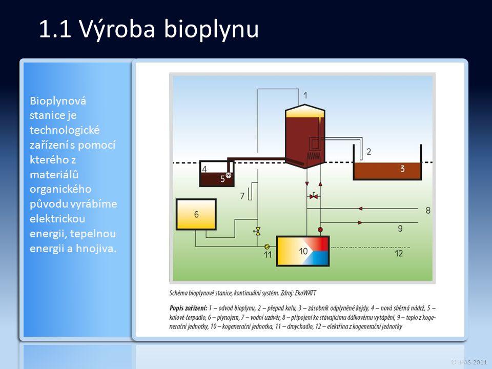 © IHAS 2011 1.1 Výroba bioplynu Bioplynová stanice je technologické zařízení s pomocí kterého z materiálů organického původu vyrábíme elektrickou energii, tepelnou energii a hnojiva.