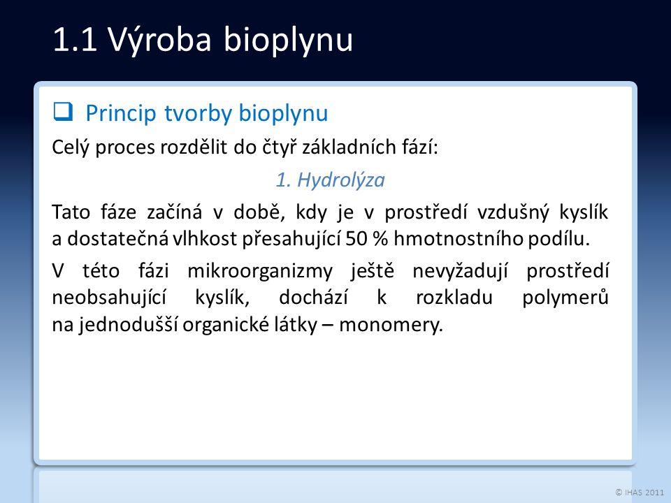 © IHAS 2011  Princip tvorby bioplynu Celý proces rozdělit do čtyř základních fází: 1.
