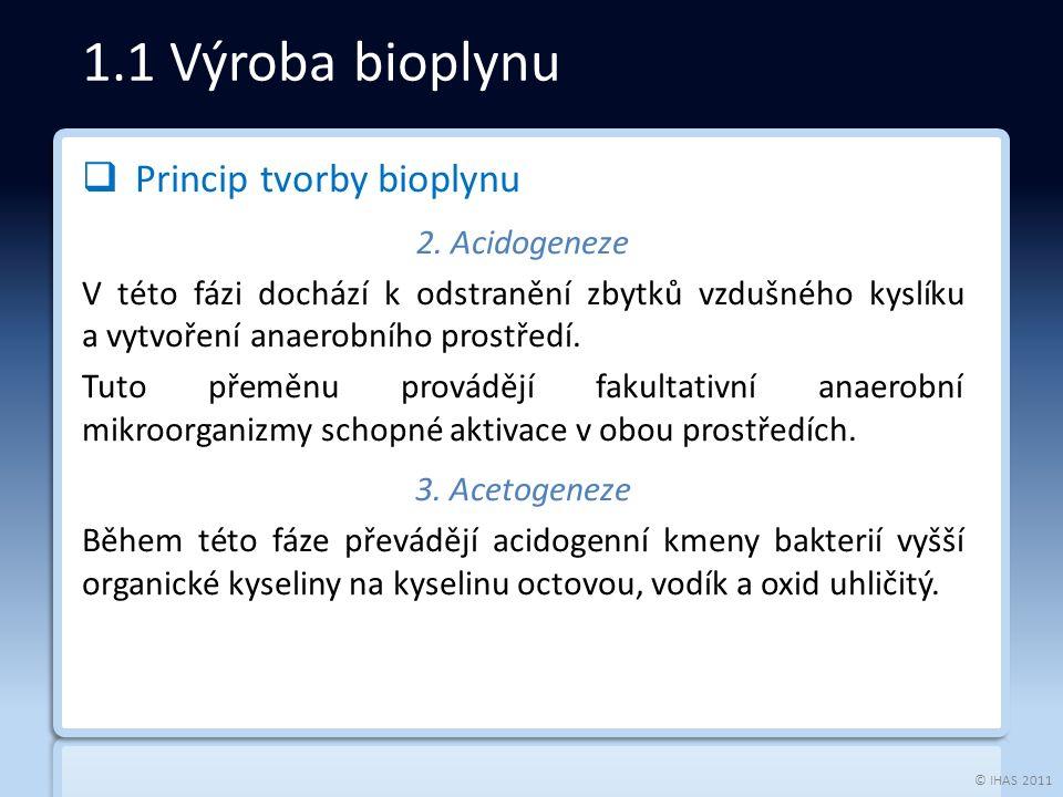 © IHAS 2011  Princip tvorby bioplynu 2.