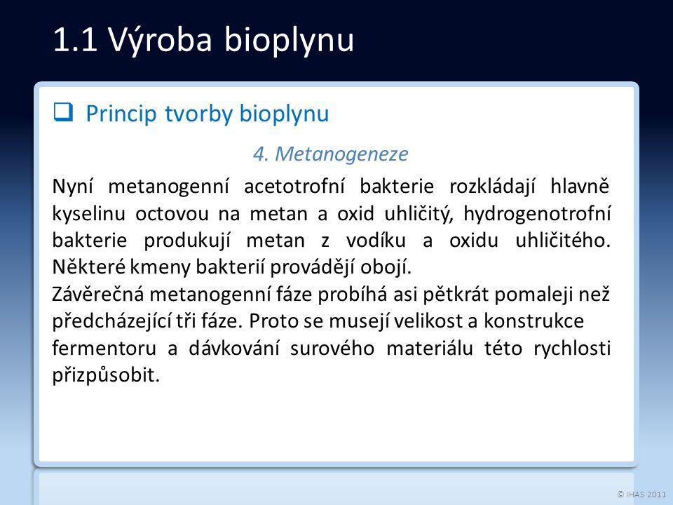 © IHAS 2011  Princip tvorby bioplynu 4.
