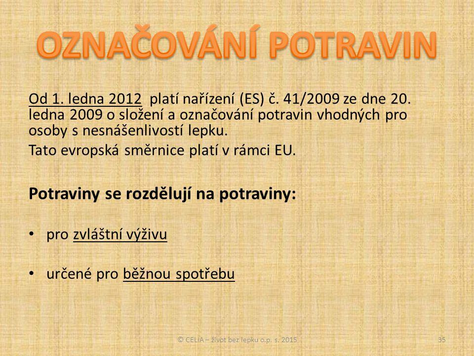 Od 1. ledna 2012 platí nařízení (ES) č. 41/2009 ze dne 20.