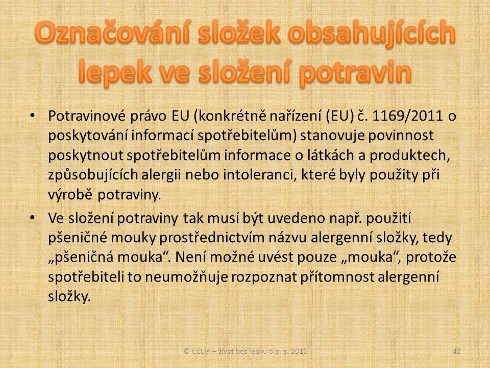 Potravinové právo EU (konkrétně nařízení (EU) č.