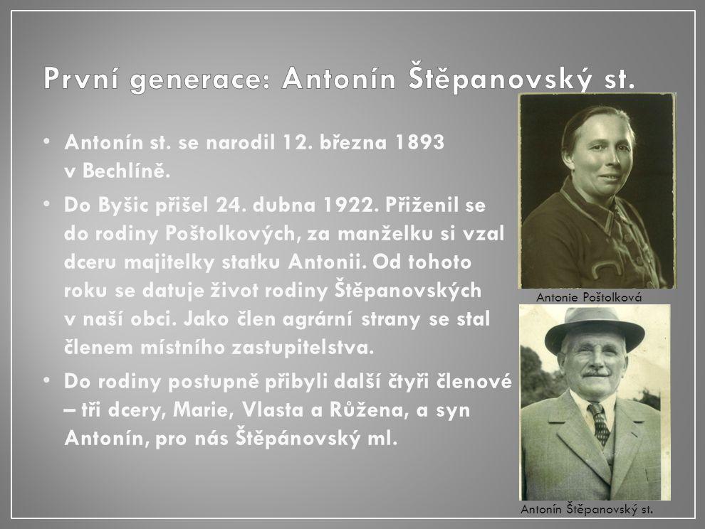 Antonín st. se narodil 12. března 1893 v Bechlíně.
