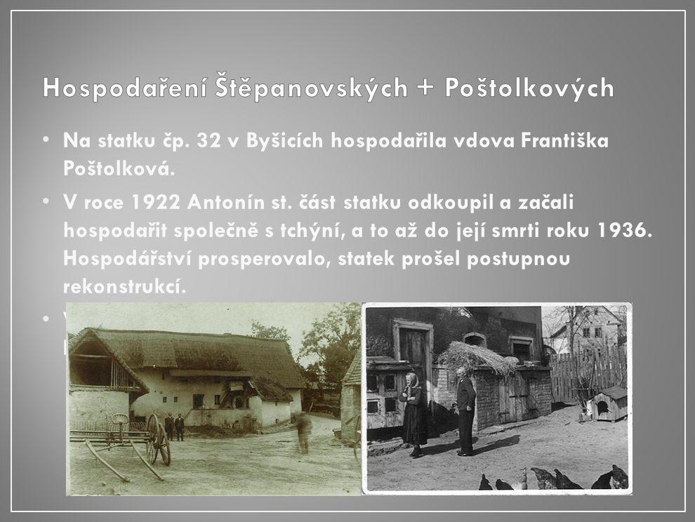 Na statku čp. 32 v Byšicích hospodařila vdova Františka Poštolková.