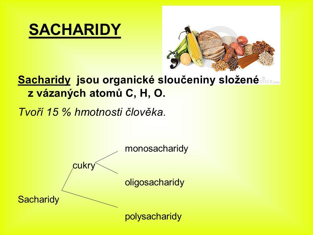 Sacharidy jsou organické sloučeniny složené z vázaných atomů C, H, O. Tvoří 15 % hmotnosti člověka. monosacharidy cukry oligosacharidy Sacharidy polys