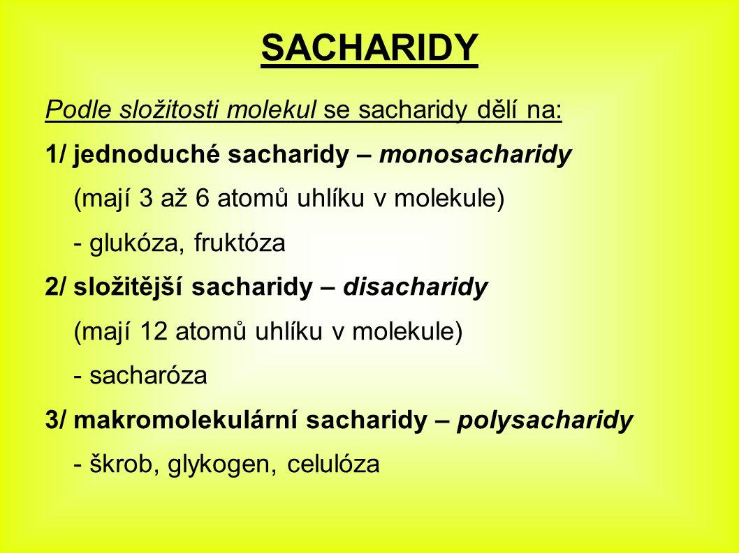 SACHARIDY Podle složitosti molekul se sacharidy dělí na: 1/ jednoduché sacharidy – monosacharidy (mají 3 až 6 atomů uhlíku v molekule) - glukóza, fruk
