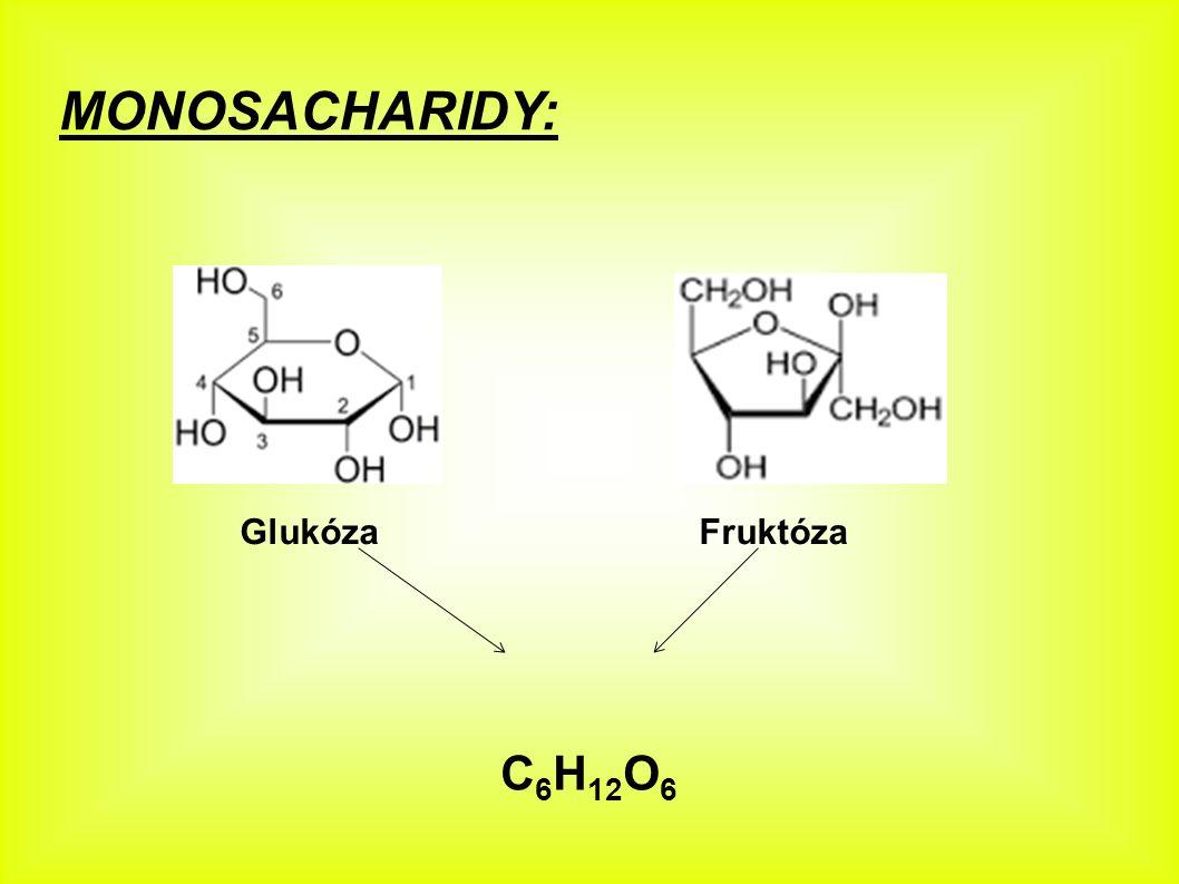 MONOSACHARIDY: Glukóza C 6 H 12 O 6 (hroznový cukr) – je to bílá krystalická látka sladké chuti rozpustná ve vodě - nachází se v krvi člověka (koncentrace glukózy v krvi živočichů je složitými mechanismy udržována na stálé hodnotě - její porušení může vést k obávané nemoci (cukrovka) projevuje se nevolnostmi, které vedou k bezvědomí až smrti - koncentrace glukózy hlídá hormon inzulín) - je významným zdrojem energie pro organismy