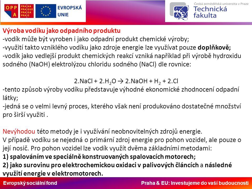 Evropský sociální fond Praha & EU: Investujeme do vaší budoucnosti Výroba vodíku jako odpadního produktu -vodík může být vyroben i jako odpadní produkt chemické výroby; -využití takto vzniklého vodíku jako zdroje energie lze využívat pouze doplňkově; -vodík jako vedlejší produkt chemických reakcí vzniká například při výrobě hydroxidu sodného (NaOH) elektrolýzou chloridu sodného (NaCl) dle rovnice: 2.NaCl + 2.H 2 O → 2.NaOH + H 2 + 2.Cl -tento způsob výroby vodíku představuje výhodné ekonomické zhodnocení odpadní látky; -jedná se o velmi levný proces, kterého však není produkováno dostatečné množství pro širší využiti.