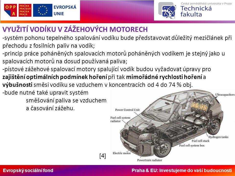 Evropský sociální fond Praha & EU: Investujeme do vaší budoucnosti VYUŽITÍ VODÍKU V ZÁŽEHOVÝCH MOTORECH -systém pohonu tepelného spalování vodíku bude představovat důležitý mezičlánek při přechodu z fosilních paliv na vodík; -princip práce poháněných spalovacích motorů poháněných vodíkem je stejný jako u spalovacích motorů na dosud používaná paliva; -pístové zážehové spalovací motory spalující vodík budou vyžadovat úpravy pro zajištění optimálních podmínek hoření při tak mimořádné rychlosti hoření a výbušnosti směsi vodíku se vzduchem v koncentracích od 4 do 74 % obj.