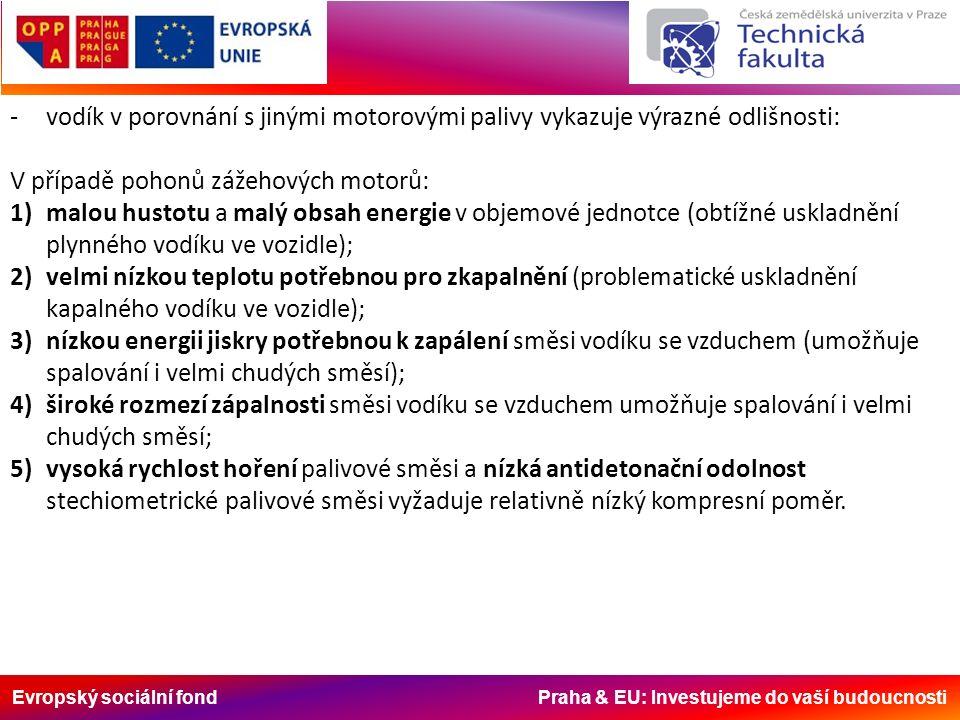 Evropský sociální fond Praha & EU: Investujeme do vaší budoucnosti -vodík v porovnání s jinými motorovými palivy vykazuje výrazné odlišnosti: V případě pohonů zážehových motorů: 1)malou hustotu a malý obsah energie v objemové jednotce (obtížné uskladnění plynného vodíku ve vozidle); 2)velmi nízkou teplotu potřebnou pro zkapalnění (problematické uskladnění kapalného vodíku ve vozidle); 3)nízkou energii jiskry potřebnou k zapálení směsi vodíku se vzduchem (umožňuje spalování i velmi chudých směsí); 4)široké rozmezí zápalnosti směsi vodíku se vzduchem umožňuje spalování i velmi chudých směsí; 5)vysoká rychlost hoření palivové směsi a nízká antidetonační odolnost stechiometrické palivové směsi vyžaduje relativně nízký kompresní poměr.