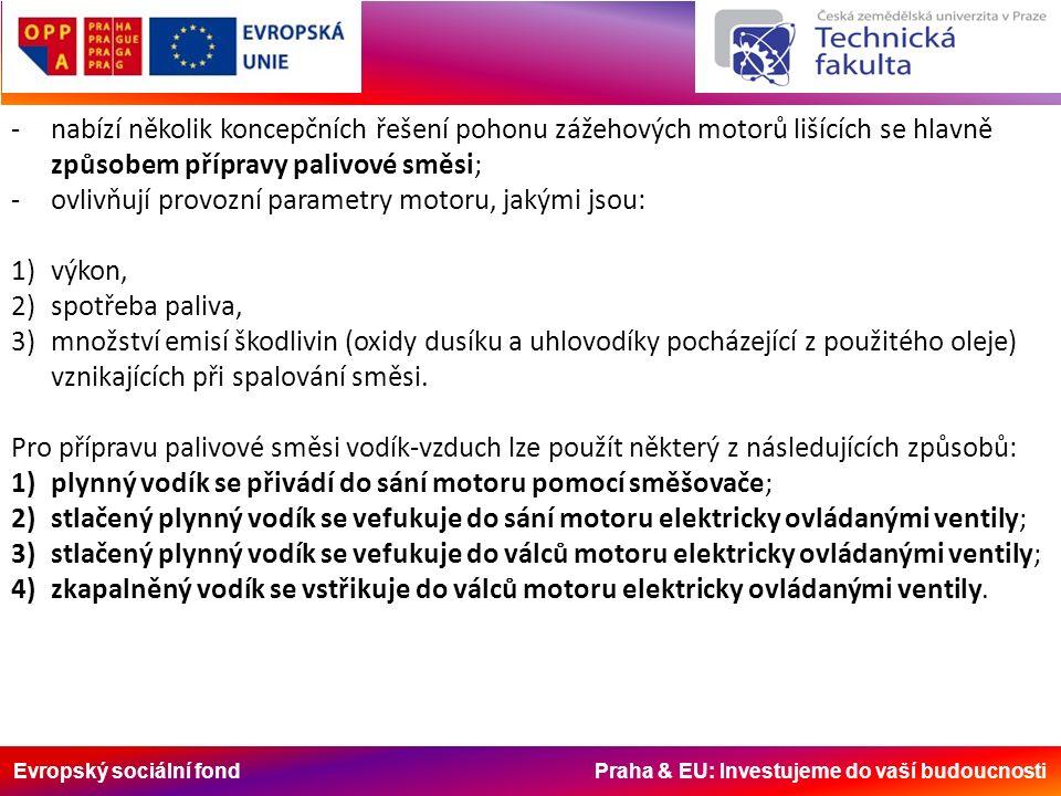 Evropský sociální fond Praha & EU: Investujeme do vaší budoucnosti -nabízí několik koncepčních řešení pohonu zážehových motorů lišících se hlavně způsobem přípravy palivové směsi; -ovlivňují provozní parametry motoru, jakými jsou: 1)výkon, 2)spotřeba paliva, 3)množství emisí škodlivin (oxidy dusíku a uhlovodíky pocházející z použitého oleje) vznikajících při spalování směsi.