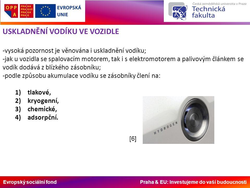 Evropský sociální fond Praha & EU: Investujeme do vaší budoucnosti USKLADNĚNÍ VODÍKU VE VOZIDLE -vysoká pozornost je věnována i uskladnění vodíku; -jak u vozidla se spalovacím motorem, tak i s elektromotorem a palivovým článkem se vodík dodává z blízkého zásobníku; -podle způsobu akumulace vodíku se zásobníky člení na: 1)tlakové, 2)kryogenní, 3)chemické, 4)adsorpční.