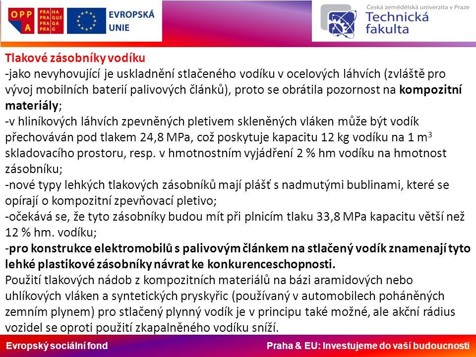 Evropský sociální fond Praha & EU: Investujeme do vaší budoucnosti Tlakové zásobníky vodíku -jako nevyhovující je uskladnění stlačeného vodíku v ocelových láhvích (zvláště pro vývoj mobilních baterií palivových článků), proto se obrátila pozornost na kompozitní materiály; -v hliníkových láhvích zpevněných pletivem skleněných vláken může být vodík přechováván pod tlakem 24,8 MPa, což poskytuje kapacitu 12 kg vodíku na 1 m 3 skladovacího prostoru, resp.