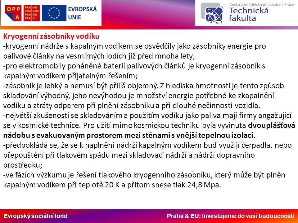 Evropský sociální fond Praha & EU: Investujeme do vaší budoucnosti Kryogenní zásobníky vodíku -kryogenní nádrže s kapalným vodíkem se osvědčily jako zásobníky energie pro palivové články na vesmírných lodích již před mnoha lety; -pro elektromobily poháněné baterií palivových článků je kryogenní zásobník s kapalným vodíkem přijatelným řešením; -zásobník je lehký a nemusí být příliš objemný.