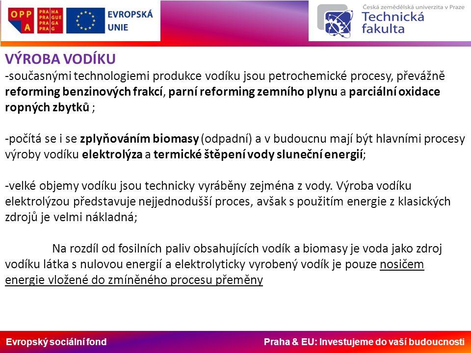 Evropský sociální fond Praha & EU: Investujeme do vaší budoucnosti VÝROBA VODÍKU -současnými technologiemi produkce vodíku jsou petrochemické procesy, převážně reforming benzinových frakcí, parní reforming zemního plynu a parciální oxidace ropných zbytků ; -počítá se i se zplyňováním biomasy (odpadní) a v budoucnu mají být hlavními procesy výroby vodíku elektrolýza a termické štěpení vody sluneční energií; -velké objemy vodíku jsou technicky vyráběny zejména z vody.
