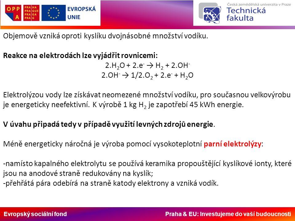 Evropský sociální fond Praha & EU: Investujeme do vaší budoucnosti Objemově vzniká oproti kyslíku dvojnásobné množství vodíku.