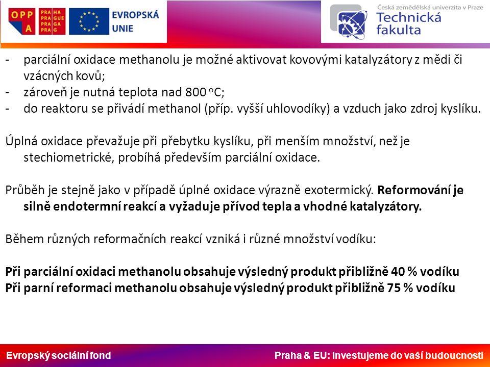 Evropský sociální fond Praha & EU: Investujeme do vaší budoucnosti -parciální oxidace methanolu je možné aktivovat kovovými katalyzátory z mědi či vzácných kovů; -zároveň je nutná teplota nad 800 o C; -do reaktoru se přivádí methanol (příp.