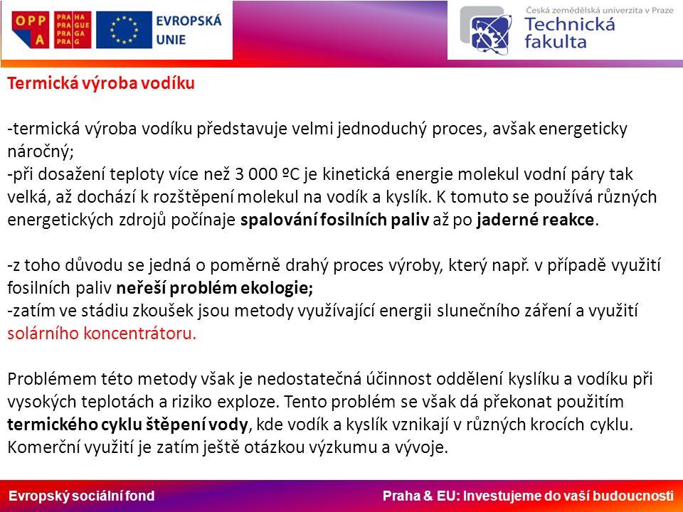 Evropský sociální fond Praha & EU: Investujeme do vaší budoucnosti Biologická výroba vodíku -získávání vodíku je možné i biologickou cestou; -některé bakterie typu Clostridium rozkládají organické látky za vývoje vodíku; -vývoj vodíku je možný i při určité fázi fotosyntézy, kde se uvolňuje z vody; -biologické metody jsou i v tomto případě ve stadiu výzkumu a jejich velkoplošné využití v dohledné době nepřipadá v úvahu; -výzkum v této oblasti směřuje ke zvýšení účinnosti fotovoltaických článků tím, že napodobí schopnost rostlin využít k přeměně sluneční energie na elektrickou širší část světelného spektra; -toto by měly zajistit svazky molekul organických barviv, které je snaha zabudovat do dnešních fotovoltaických panelů.