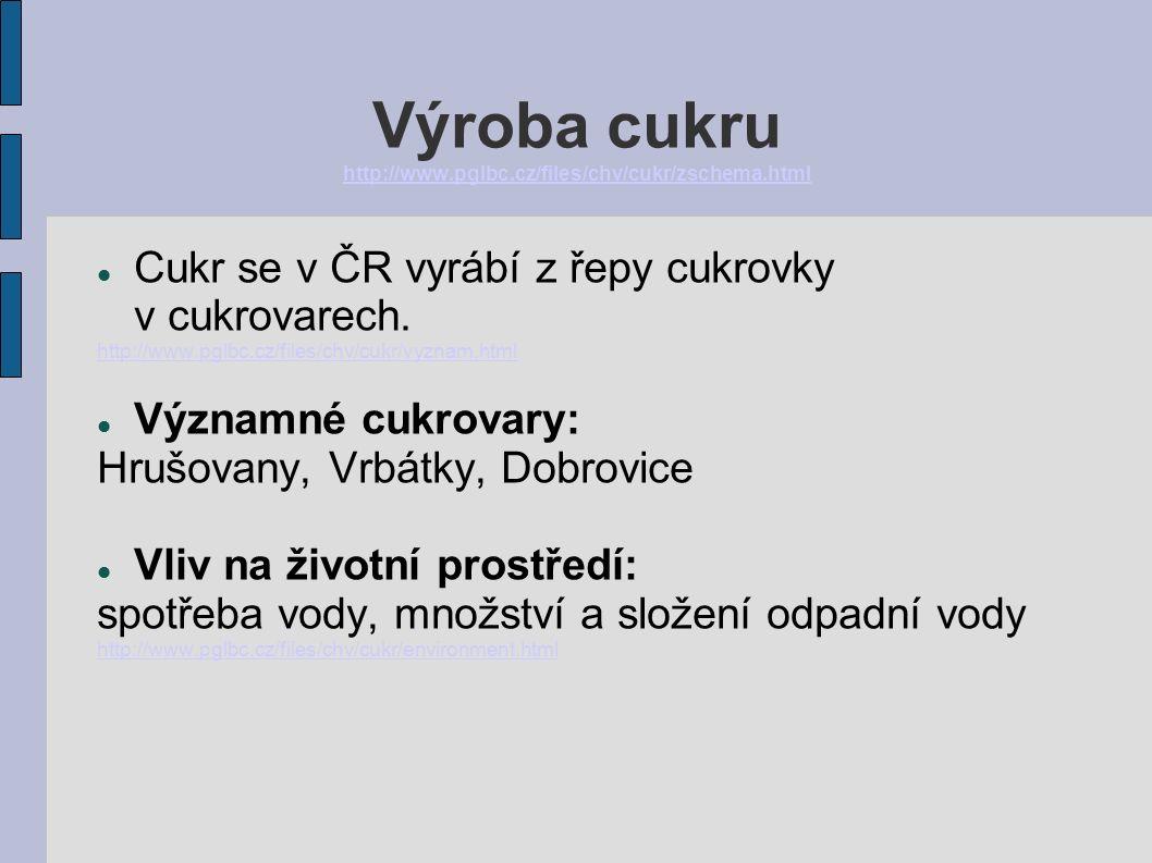 Výroba cukru http://www.pglbc.cz/files/chv/cukr/zschema.html http://www.pglbc.cz/files/chv/cukr/zschema.html Cukr se v ČR vyrábí z řepy cukrovky v cukrovarech.