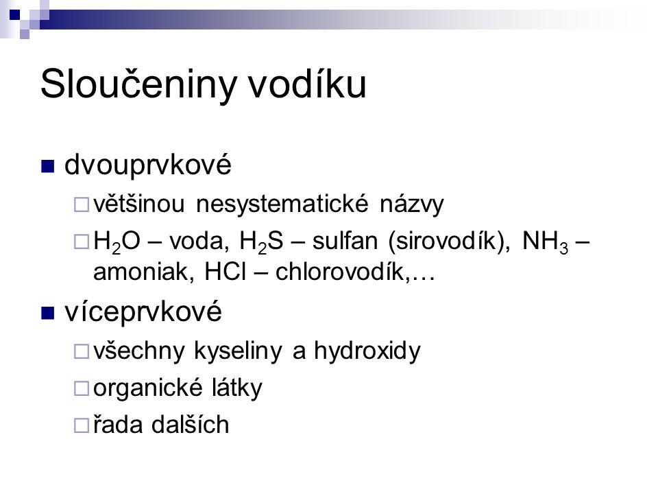 Sloučeniny vodíku dvouprvkové  většinou nesystematické názvy  H 2 O – voda, H 2 S – sulfan (sirovodík), NH 3 – amoniak, HCl – chlorovodík,… víceprvkové  všechny kyseliny a hydroxidy  organické látky  řada dalších