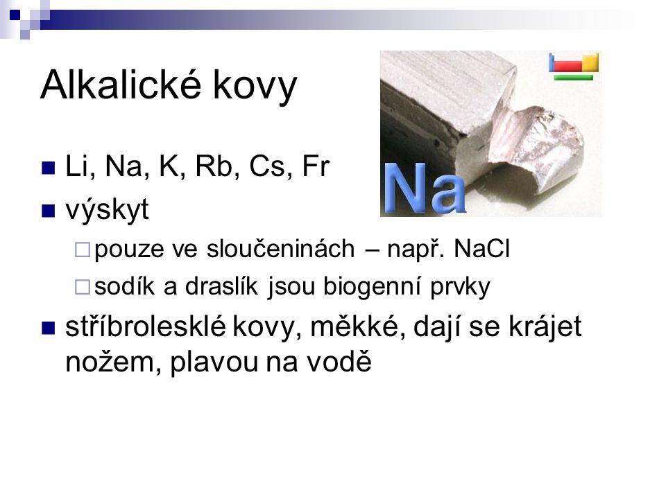 Alkalické kovy Li, Na, K, Rb, Cs, Fr výskyt  pouze ve sloučeninách – např.