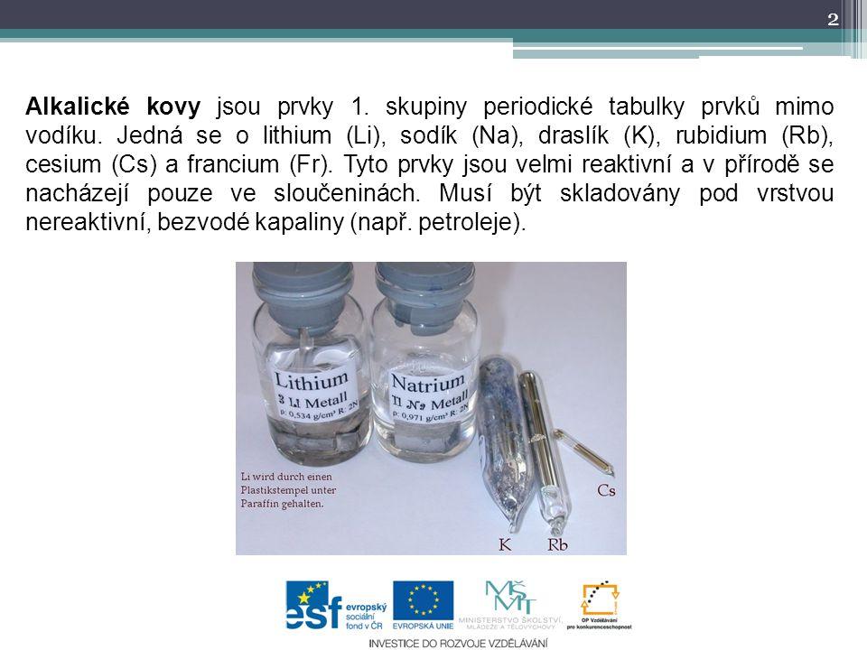 Alkalické kovy jsou prvky 1. skupiny periodické tabulky prvků mimo vodíku.