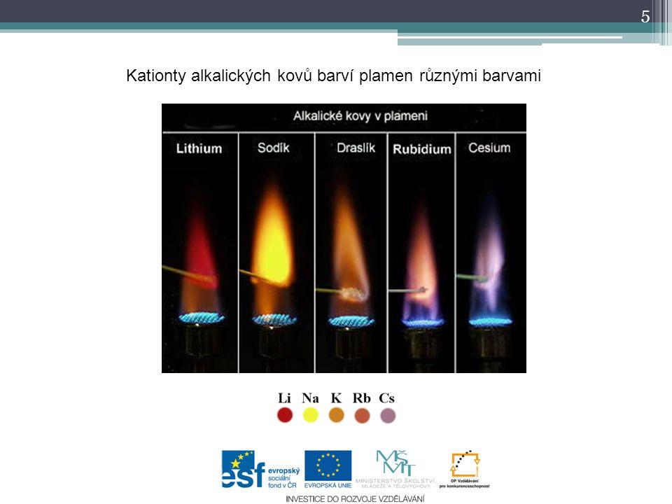 Kationty alkalických kovů barví plamen různými barvami 5