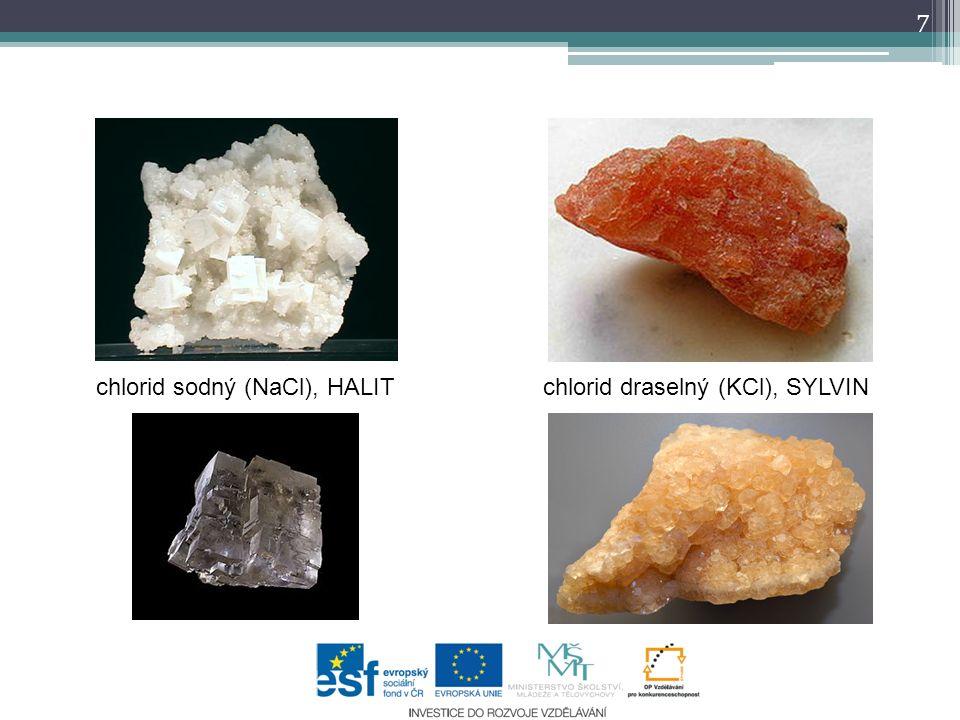 chlorid sodný (NaCl), HALIT chlorid draselný (KCl), SYLVIN 7