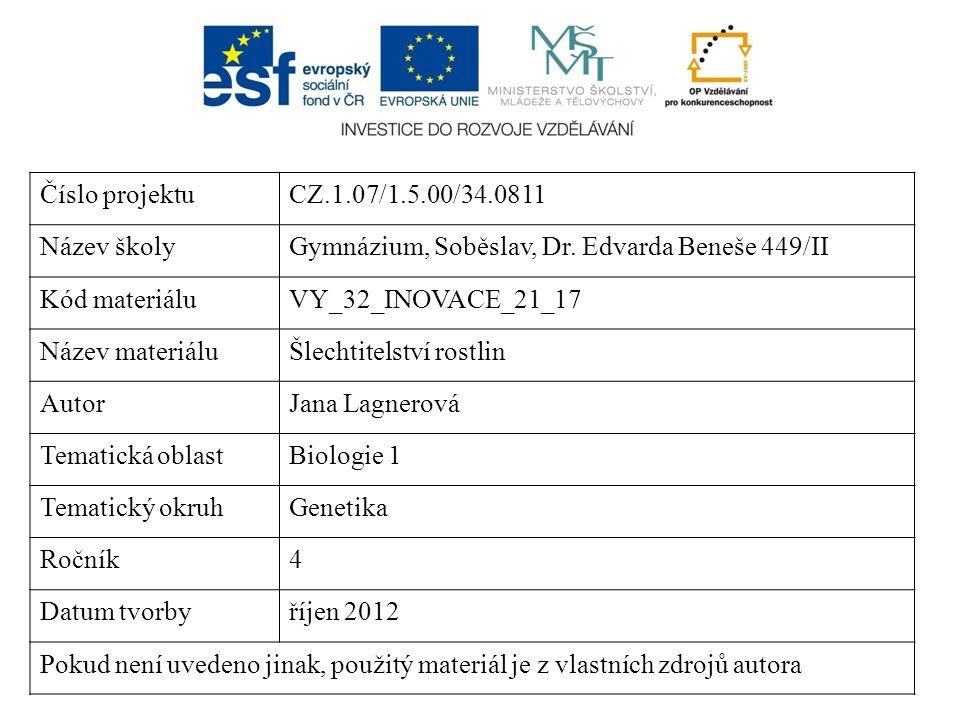 Číslo projektuCZ.1.07/1.5.00/34.0811 Název školyGymnázium, Soběslav, Dr. Edvarda Beneše 449/II Kód materiáluVY_32_INOVACE_21_17 Název materiáluŠlechti