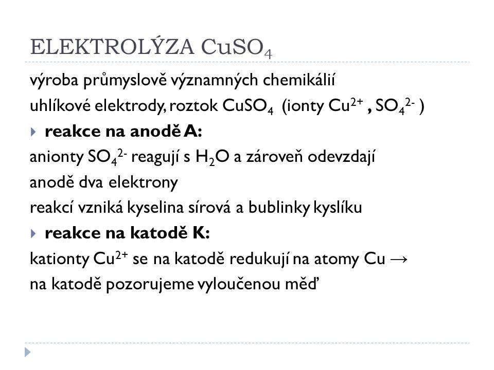 ELEKTROLÝZA CuSO 4 výroba průmyslově významných chemikálií uhlíkové elektrody, roztok CuSO 4 (ionty Cu 2+, SO 4 2- )  reakce na anodě A: anionty SO 4
