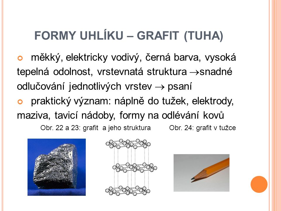 FORMY UHLÍKU – GRAFIT (TUHA) měkký, elektricky vodivý, černá barva, vysoká tepelná odolnost, vrstevnatá struktura  snadné odlučování jednotlivých vrstev  psaní praktický význam: náplně do tužek, elektrody, maziva, tavicí nádoby, formy na odlévání kovů Obr.