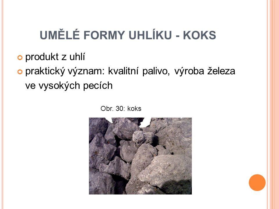 produkt z uhlí praktický význam: kvalitní palivo, výroba železa ve vysokých pecích Obr.