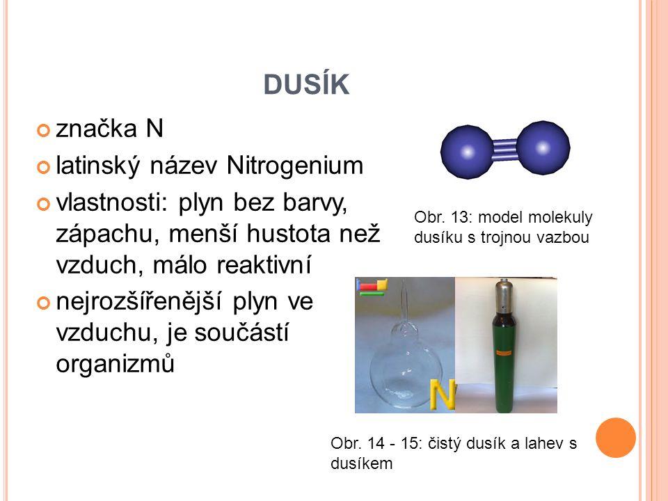 DUSÍK značka N latinský název Nitrogenium vlastnosti: plyn bez barvy, zápachu, menší hustota než vzduch, málo reaktivní nejrozšířenější plyn ve vzduchu, je součástí organizmů Obr.
