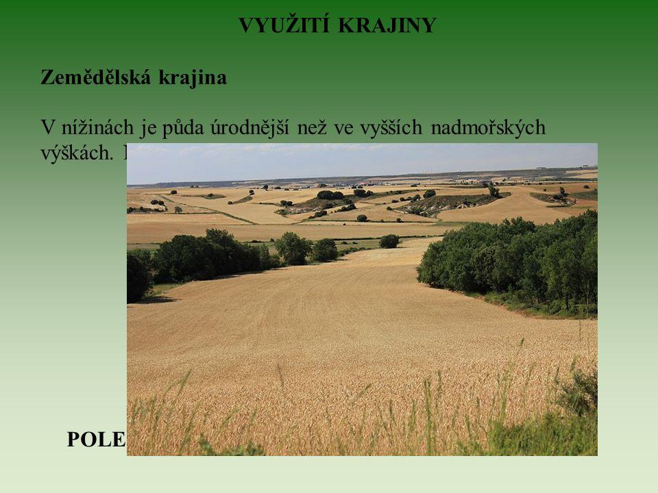 VYUŽITÍ KRAJINY Zemědělská krajina V nížinách je půda úrodnější než ve vyšších nadmořských výškách.