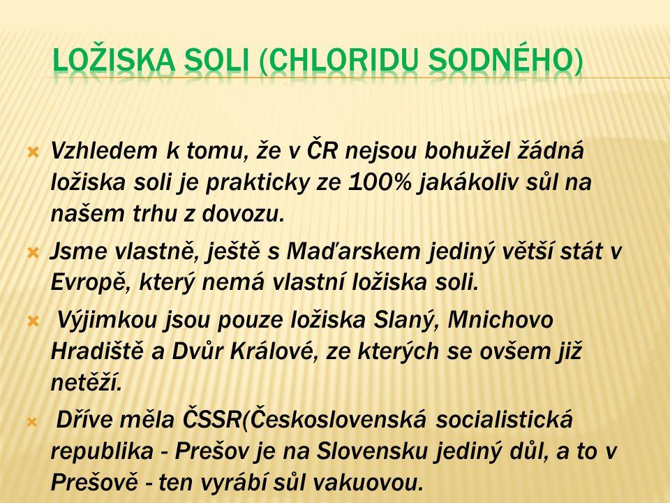  Vzhledem k tomu, že v ČR nejsou bohužel žádná ložiska soli je prakticky ze 100% jakákoliv sůl na našem trhu z dovozu.