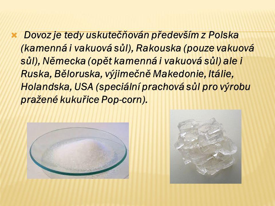  Dovoz je tedy uskutečňován především z Polska (kamenná i vakuová sůl), Rakouska (pouze vakuová sůl), Německa (opět kamenná i vakuová sůl) ale i Ruska, Běloruska, výjimečně Makedonie, Itálie, Holandska, USA (speciální prachová sůl pro výrobu pražené kukuřice Pop-corn).