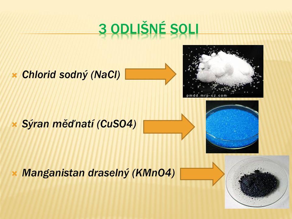  Chlorid sodný (NaCl)  Sýran měďnatí (CuSO4)  Manganistan draselný (KMnO4)