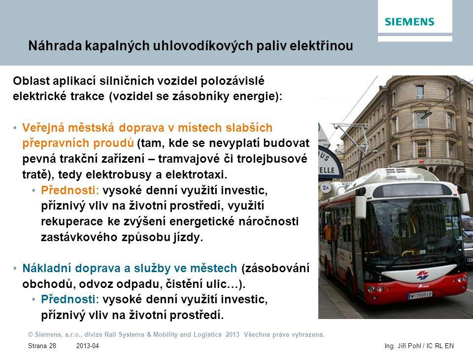2013-04 © Siemens, s.r.o., divize Rail Systems & Mobility and Logistics 2013 Všechna práva vyhrazena. Strana 28Ing. Jiří Pohl / IC RL EN Náhrada kapal