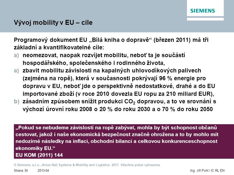 2013-04 © Siemens, s.r.o., divize Rail Systems & Mobility and Logistics 2013 Všechna práva vyhrazena. Strana 34Ing. Jiří Pohl / IC RL EN Vývoj mobilit