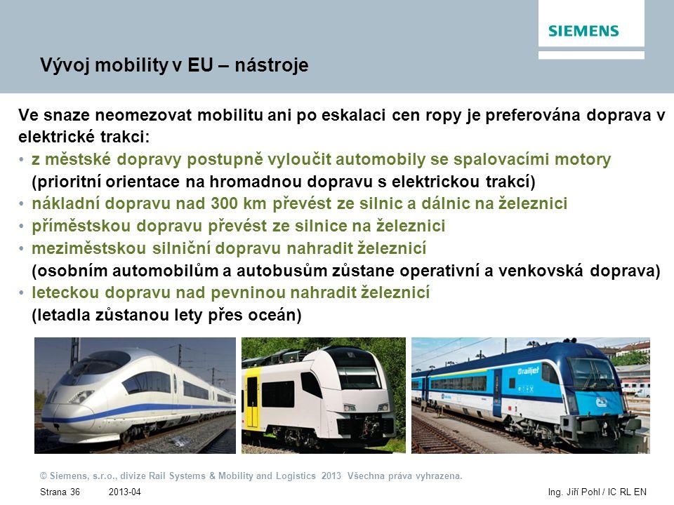 2013-04 © Siemens, s.r.o., divize Rail Systems & Mobility and Logistics 2013 Všechna práva vyhrazena. Strana 36Ing. Jiří Pohl / IC RL EN Vývoj mobilit