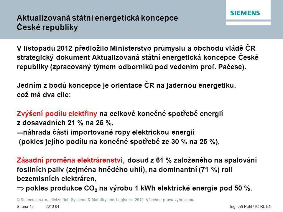 2013-04 © Siemens, s.r.o., divize Rail Systems & Mobility and Logistics 2013 Všechna práva vyhrazena. Strana 43Ing. Jiří Pohl / IC RL EN Aktualizovaná