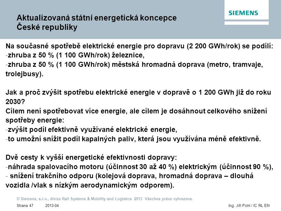 2013-04 © Siemens, s.r.o., divize Rail Systems & Mobility and Logistics 2013 Všechna práva vyhrazena. Strana 47Ing. Jiří Pohl / IC RL EN Aktualizovaná
