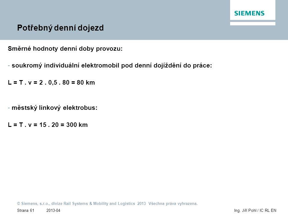 2013-04 © Siemens, s.r.o., divize Rail Systems & Mobility and Logistics 2013 Všechna práva vyhrazena. Strana 61Ing. Jiří Pohl / IC RL EN Potřebný denn