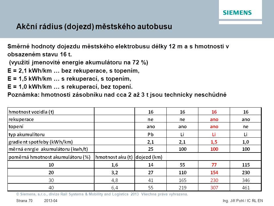 2013-04 © Siemens, s.r.o., divize Rail Systems & Mobility and Logistics 2013 Všechna práva vyhrazena. Strana 70Ing. Jiří Pohl / IC RL EN Akční rádius