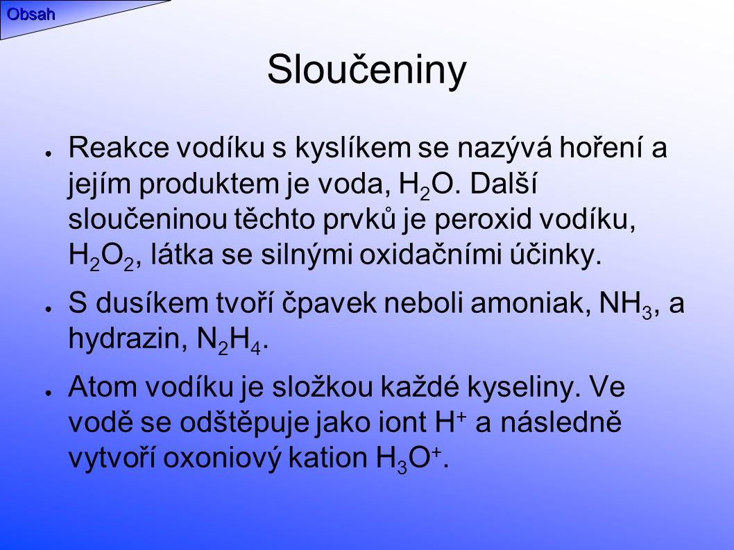 Sloučeniny ● Reakce vodíku s kyslíkem se nazývá hoření a jejím produktem je voda, H 2 O.