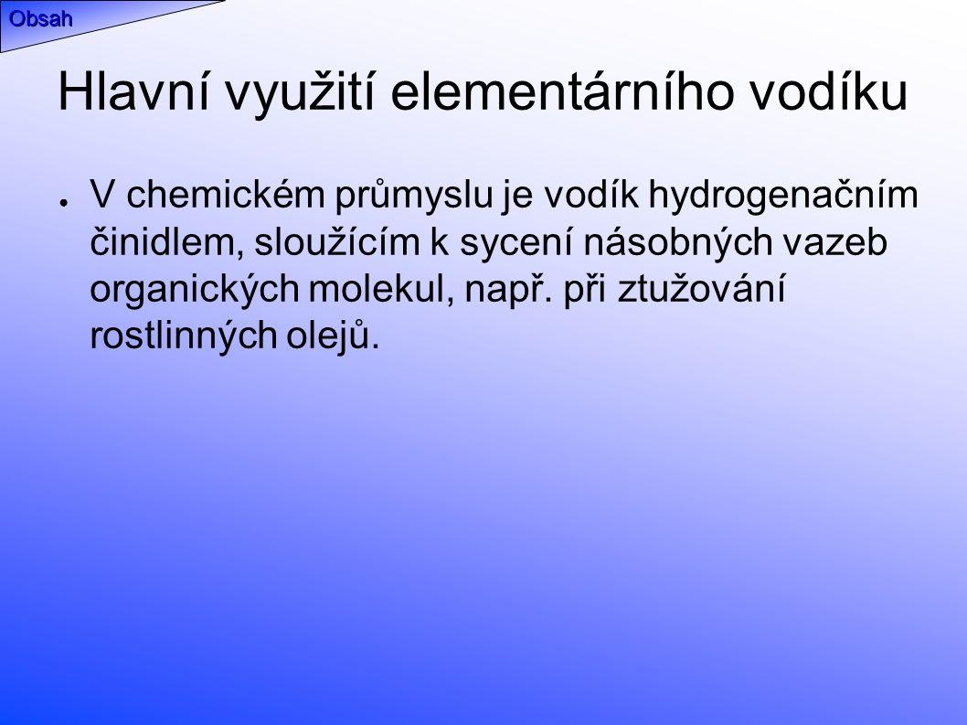 Hlavní využití elementárního vodíku ● V chemickém průmyslu je vodík hydrogenačním činidlem, sloužícím k sycení násobných vazeb organických molekul, např.