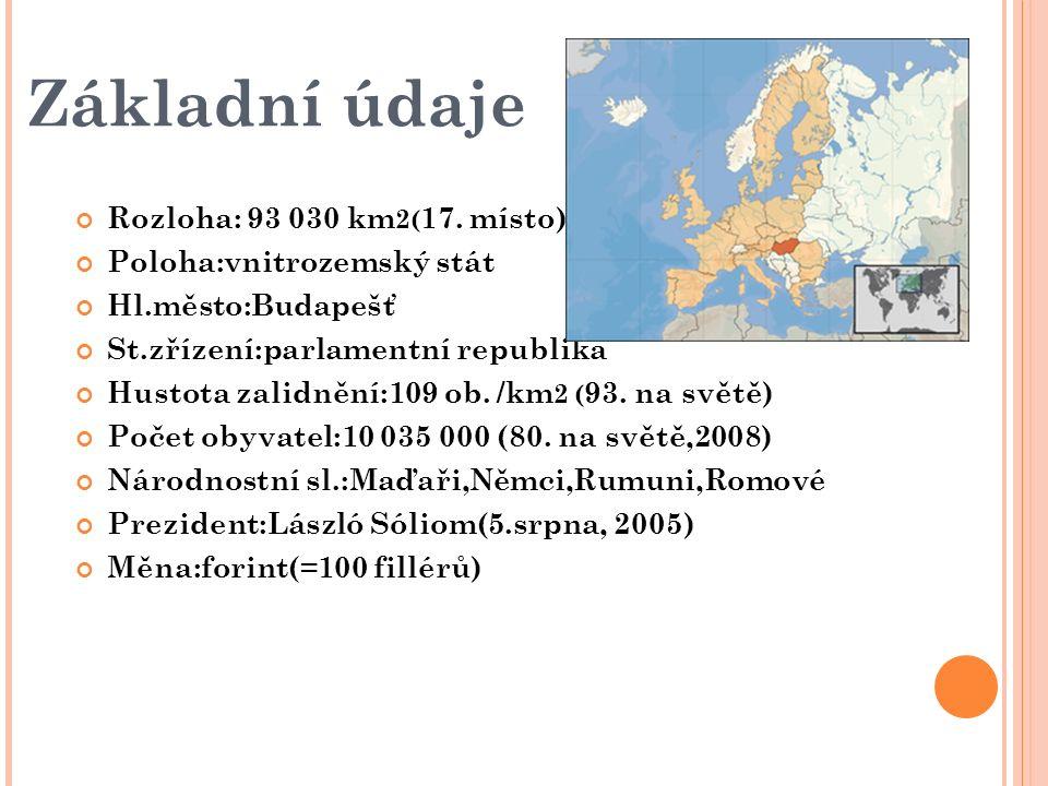 Povrch Leží v jihovýchodní Evropě,uprostřed nejnižší části Panonské pánve Převážnou část tvoří nížina a zbytek pahorkatina a středomoří Nejvýznamnější pohoří Maďarska jsou Bukové hory, Bakonský les a Matra Největší vrchol je Kekés (1 015 m.